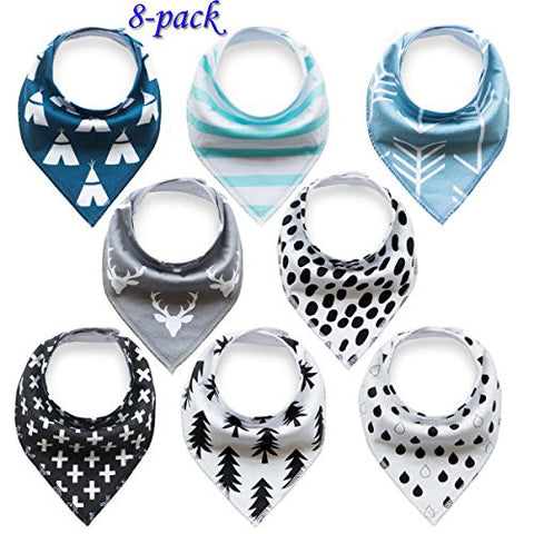 Baby Bandana Drool Bibs Organic for Boys and Girls 100% Absorbent Soft Cotton Bandana Baby Bibs for Teething Feeding Baby Shower Gift (BC073)