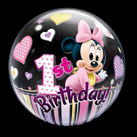 22 Minnie Mouse 1st Birthday Bubble Balloons