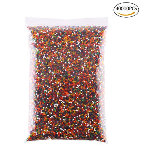 KITAMP 2.5-3mm 40000Pcs Rainbow Mixed color Crystal Water Beads Water Gel Beads Pearls for Home Decoration Vase Filler