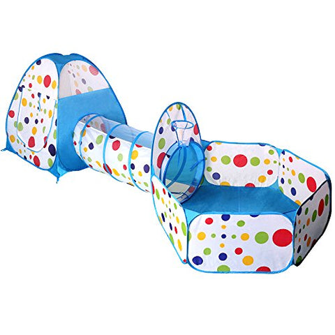 EocuSun Pop up Polka Dot Kids Play Tent with Tunnel and Ball Pit with Zippered Storage Bag, Blue