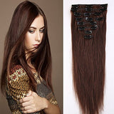 100% Real Remy Clip in Hair Extensions 16-22inch Grade AAAAA Natural Hair Full Head Standard Weft 8 Pieces 18 Clips Long Smooth Soft Silky Straight for Women Fashion (20 /20 inch 70g,#4 Medium Brown)