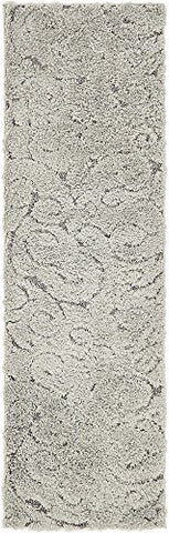 Unique Loom 3133129 Modern Solid Carved Plush 2 7 Feet (2' x 7') Runner Floral Shag Contemporary Area Rug, 2 x 6, Gray