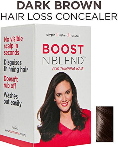 BOOSTnBLEND Dark Brown Hair Loss Concealer for Women with Hair Loss. Covers up Visible Scalp for Women with Visible Thinning Hair 22g/0.78oz