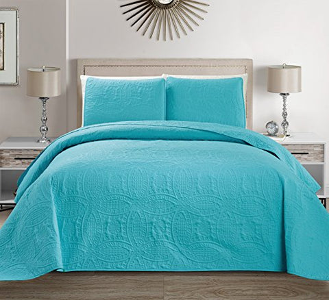 MK Home 3-Piece Solid Embossed Full/Queen (100-Inch-by-106-Inch) Bedspread Cover, Baby Blue/Turquoise