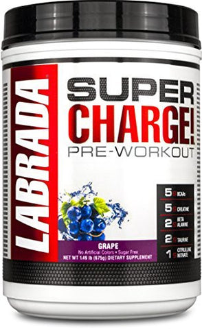 LABRADA NUTRITION Super Charge Pre Workout, Nitric Oxide Boosting Performance Enhancer with BCAAs, Creatine Monohydrate and 8 More Clinically Dosed Ingredients, Grape, 675 Gram
