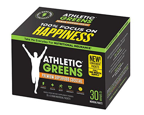 Athletic Greens Premium Green Superfood Cocktail - The Most Complete Whole Food Supplement On The Planet, 30-Day Travel Pack