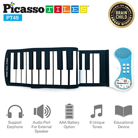 PicassoTiles PT49 Kid's 49-Key Flexible Roll-Up Educational Electronic Digital Music Piano Keyboard w/ Recording Feature, 8 Different tones, 6 Educational Demo Songs & Build-in Speaker - Blue