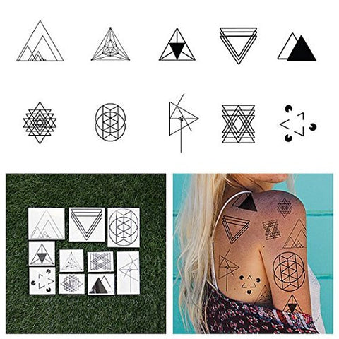 Tattify Triangle Shape Temporary Tattoos - I'd Like to See You Tri (Set of 20 Tattoos - 2 of each Style) - Individual Styles Available and Fashionable Temporary Tattoos