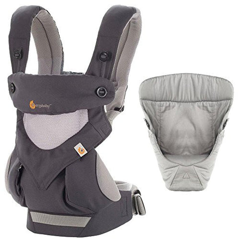 Ergobaby Bundle - 2 Items: Carbon Grey Four Position 360 Baby Carrier and Easy Snug Infant Insert Grey