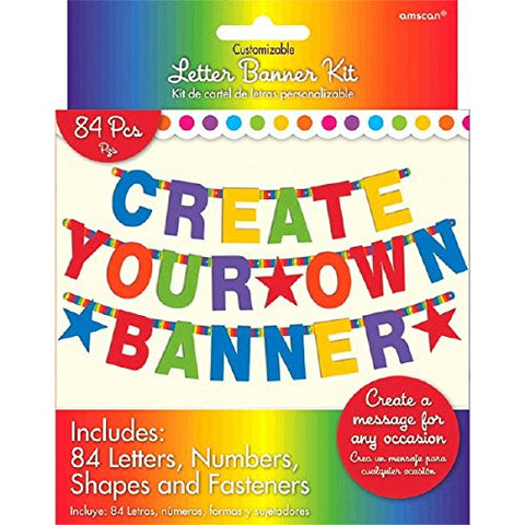 Fun Rainbow Birthday Party Customizable Letter Banner Decoration, Multi , Pkg. Size 7 x 5.5 cardboard paper