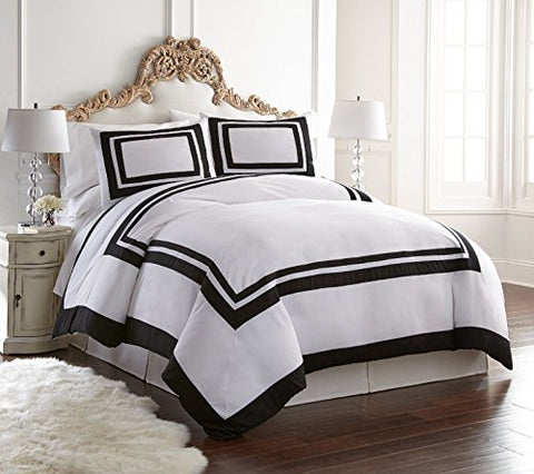 Belmont by Chezmoi Collection - 3 Pieces Hotel Style Bordered Square Pattern Duvet Cover Set (Queen, White)