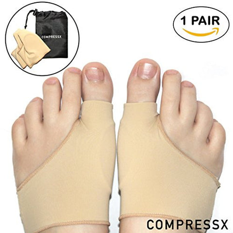 1 Pair Gel Bunion Corrector Treatment Splint Sleeves with Travel Bag by COMPRESSX -2pc Bootie Sleeve Set for Bunion Relief & Plantar Fasciitis -Toe Straightening Support Socks for Men & Women (Large)