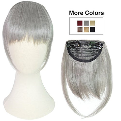 REECHO Fashion One Piece Clip in Hair Bangs / Fringe / Hair Extensions Color: Silver Gray