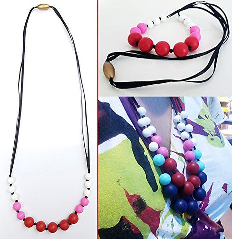 Silicone Teething Necklace for Mom to Wear - NEW AGE HEALTH - BPA FREE and FDA Approved (red)