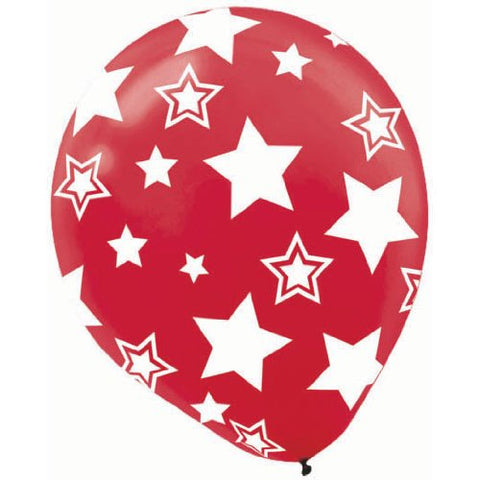 Latex Balloons Red w/Stars, 12