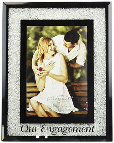 Pavilion Gift Company 85116 Glorious Occasions - Our Engagement White Crystal Mirrored 4x6 Picture Frame,