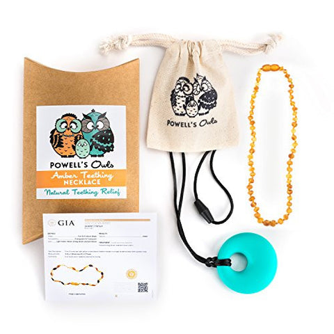 Baltic Amber Teething Necklace - Handmade in Lithuania - Lab-Tested Authentic - Comes with Silicone Teething Pendant (14 inches - Large, Honey - Raw Unpolished)