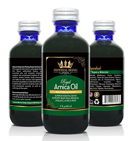 IMPERIAL BEING Royal Arnica Oil - Rapid Healing Formula - Super Premium Blend with Essential Oils, Minerals, and Wildcrafted Herbs for Bruises, Massage, Relief from Muscle Soreness and Aches (2 oz)