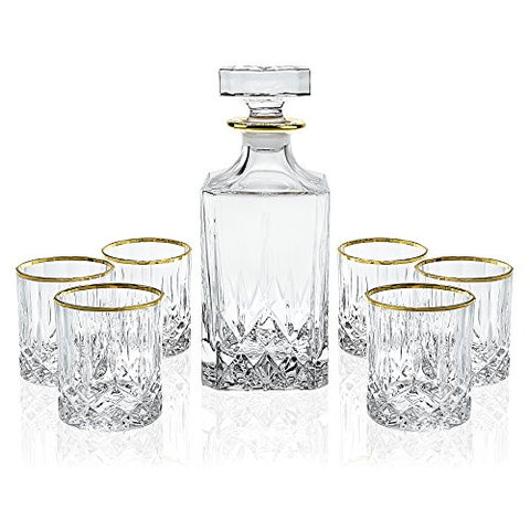 Elegant Manhattan Style Crystal Liquor Whiskey and Wine Decanter Set. Irish Cut 7 Piece Set 1 Decanter. 6 Old Fashioned 6 Oz DOF Glasses with 24k Gold Trim.