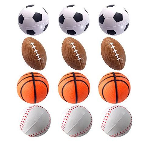 Mini Sports Balls for Kids Party Favor Toy, Soccer Ball, Basketball, Football, Baseball  Squeeze Foam for Stress, Anxiety Relief, Relaxation. ((Mix Sports))