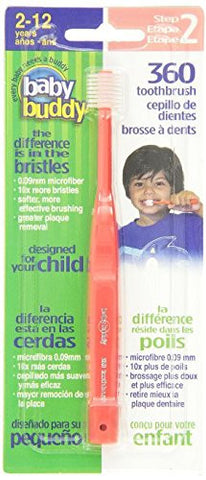 Baby Buddy 360 Toothbrush Step 2 Stage 6 for Ages 2-12 Years, Kids Love Them, Red, 3 Count