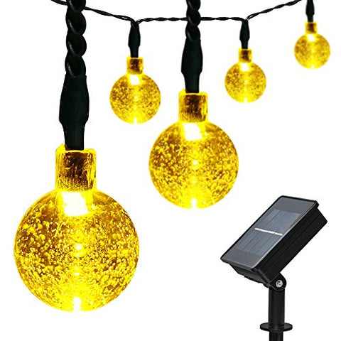 ApexPower Solar String Light 21 ft 30LED 8Modes Crystal Ball Solar Powered Waterproof String Lights Fairy Lighting for Garden Home Patio Holiday Tree Decorations(Warm White)