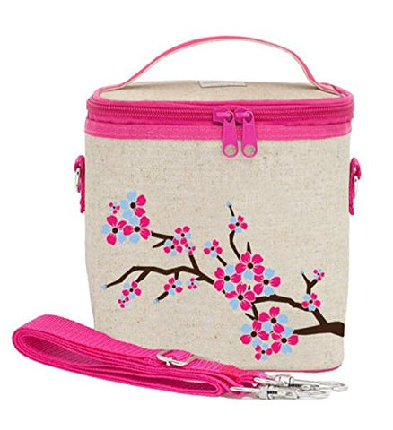 SoYoung Large Cooler Bag - Raw Linen, Eco-Friendly, Retro-Inspired, Leakproof, Easy to Clean - Cherry Blossom