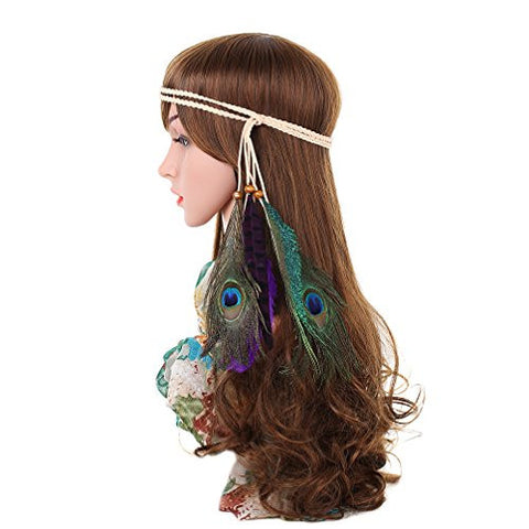 AWAYTR Tribal Style Feather Boho Headband Beads Cute Masquerade Fancy Dress Waistband Headpieces Hippie Hair Accessories (4)