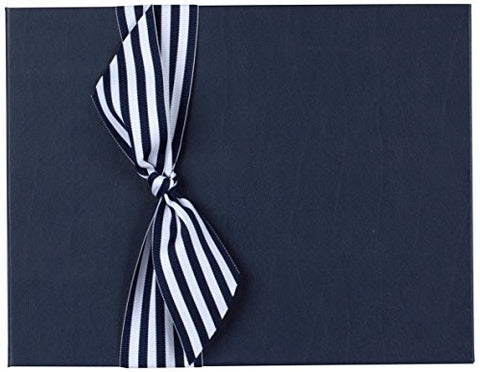 Tessera Baby Books Memory Book with Stripe Grosgrain Ribbon, Blue/White