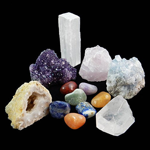 13 pcs Chakra Crystal Sampler Set / Healing Kit: 6 Minerals-Amethyst Cluster, Raw Rose Quartz, Crystal Point, Selenite Blue Celestite and Half Geode + Plus 1 Bag of 7 Chakra tumbled Stones