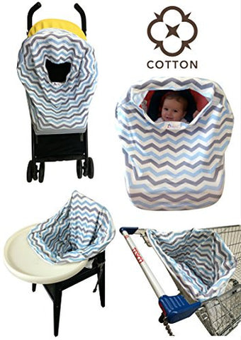 [62% SALE] Baby Car Seat Covers COTTON Nursing Canopy 5 in 1 Multi-Use Stretchy Infant Girls Boys Unisex Carseat Cover Best Shower Gift