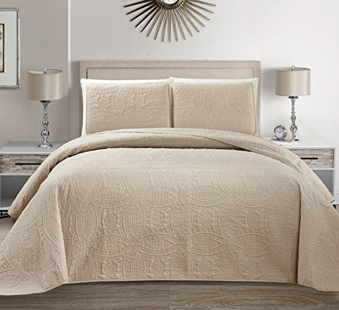 Mk Collection 3 pc Solid Embossed Bedspread Bed-cover Over size Beige/Khaki New Full/Queen Over Size 100 x106