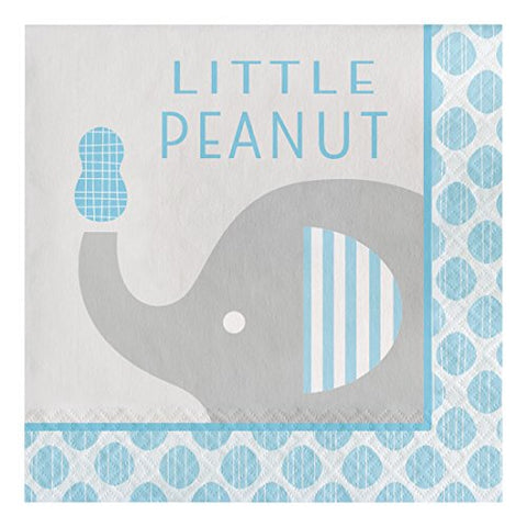 Creative Converting 316934 16 Count Paper Lunch Napkins, Little Peanut Elephant- Boy