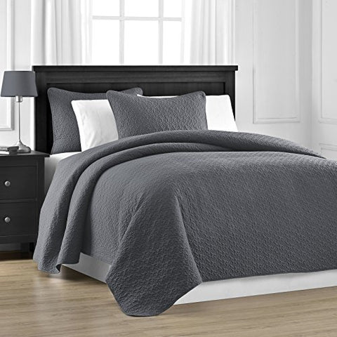 Prewashed Durable Comfy Bedding Jigsaw Quilted 3-piece Bedspread Coverlet Set (King/Cali King, Grey)