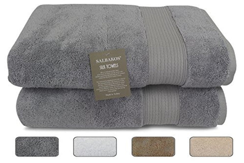 Salbakos Fine Italian Silk and Combed Turkish Cotton Bath Towels, Incredibly Soft, Eco-friendly 30x60, 625gsm (Set of 2, Gray)