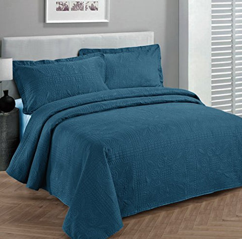 Fancy Collection 2pc Luxury Bedspread Coverlet Embossed Bed Cover Solid Blue New Over Size Twin/Twin XL