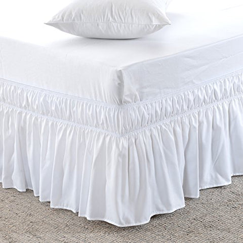 MeiLa Three Fabric Sides Wrap Around Elastic Solid Bed Skirt, Easy On/Easy Off Dust Ruffled Bed-Skirts 16-Inch Tailored Drop (White Queen/King)