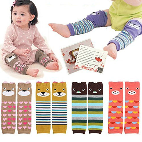 Fly-love® 6pairs Combed Cotton Cartoon Bear Infant Toddler Leg Sleeve Warmers Socks Protector Warmer For Baby Knee Pads