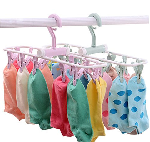 Folding Travel Clip & Drip Hanger, Portable Plastic Clothes Underwear Socks Laundry Drying Hanger Rack With 12 Clips For Home Or Outdoor (Light Green)