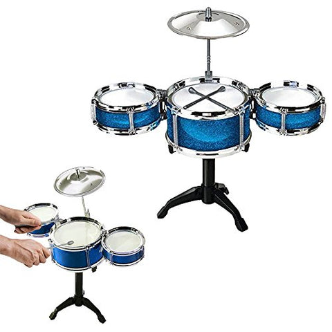 Toy Cubby Rock, Jazz and Country Band Desktop Drum Set - (BLUE)