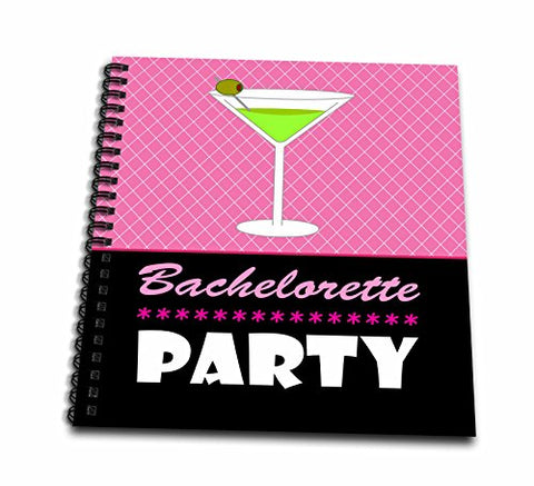 3dRose db_47574_2 Bachelorette Party Gift Memory Book, 12 by 12-Inch, Pink/Black