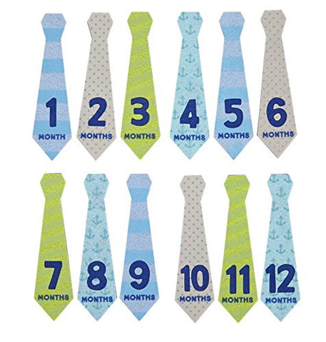 Pearhead Felt Necktie First Year Monthly Milestone Photo Sharing Baby Belly Stickers, 1-12 Months (Blue, Green, Gray)