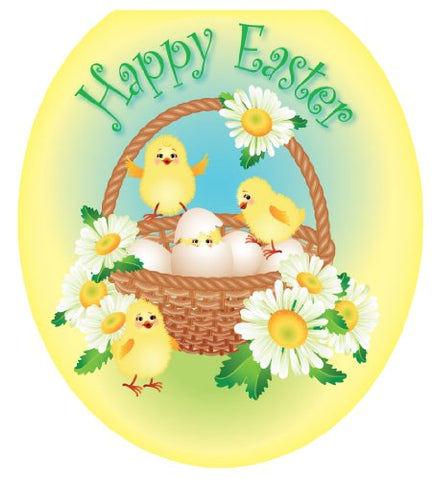 Toilet Tattoos TT-E712-R Easter Chicks Decorative Applique For Toilet Lid, Round
