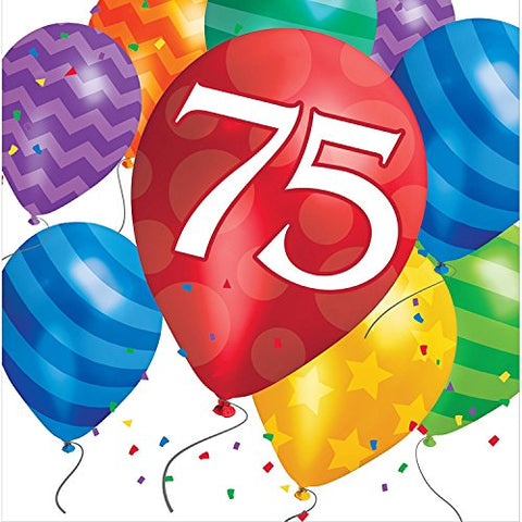 Creative Converting 75th Birthday Balloon Blast Lunch Napkins, Multicolor (48 Count)