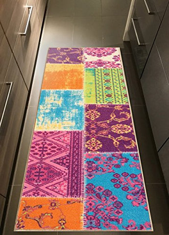 Rubber Backed 20  x 59  Multicolor Fancy Patchwork Runner Non-Slip Rug - Rana Collection Kitchen Dining Living Hallway Bathroom Pet Entry Rugs RAN2079-25