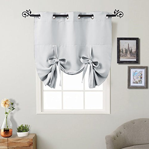 Greyish White Tie Up Shades - PONY DANCE Thermal Insulated Blackout Curtain Panel Heavy Duty Window Treatment Drapery for Kitchen Including 6 Grommets Each Panel,46 W x 63 L,1 Pc