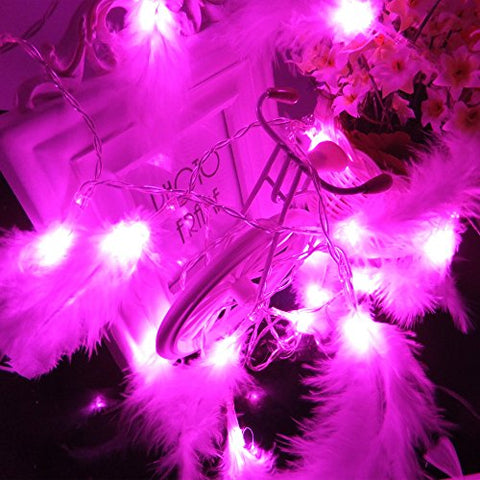 Sunniemart 2m 20 LED Battery Operated String Lights Feather Styled Fairy Lights Indoor Christmas Lights for Wedding Party Bedroom Decoration (Pink)