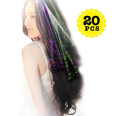 Hyuling 20pcs Multicolor Changing LED Flashing Fiber Optic Hair Braid Barrettes Lights for Party Supplies, LED Lights Hair, Bar Dancing Hairpin, Hair Clip, Multicolor Flash Barrettes Clip Braid (20)