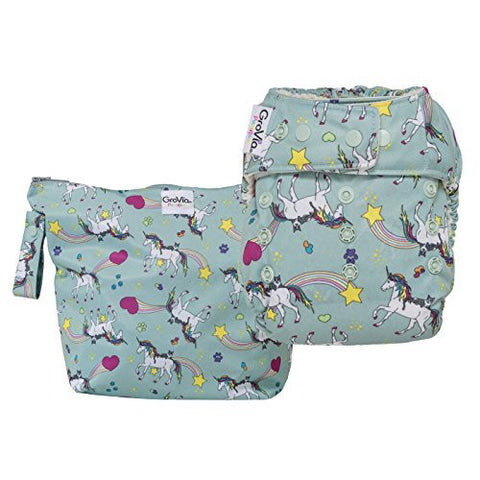 GroVia Diaper and Wetbag Purrrrfect Combo (O.N.E. Diaper)