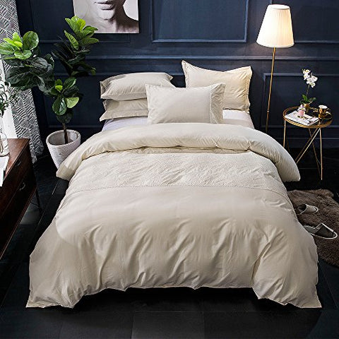 Merryfeel 100% cotton Embroidery Duvet Cover Set- Cream- Full/Queen